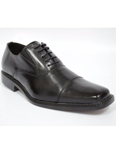 Mens cap toe black solid lace up heel dress shoes