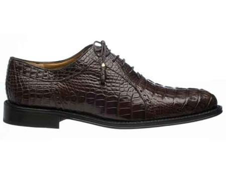 Mens Chocolate Italian Lace Up Style Hornback Alligator Derby Shoes