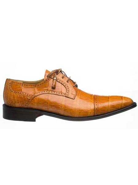 Mens Cognac Full Cap Real Alligator Skin Leather Lined Dress Shoes