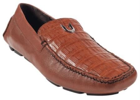 Mens Cognac Genuine Caimen Belly Driver317