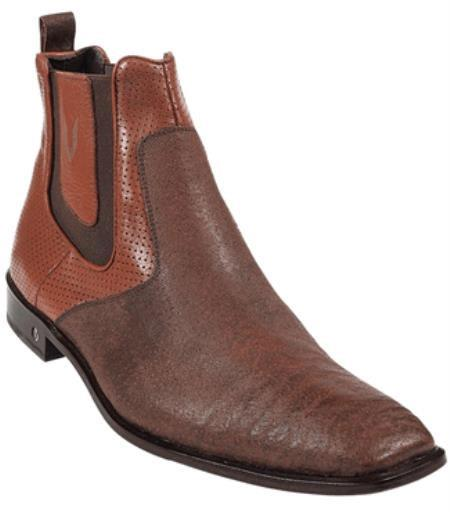 Mens Cognac Genuine Shark Dressy Boot 317