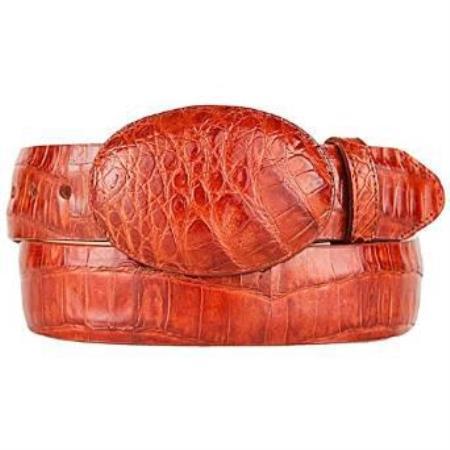 Mens cognac original caiman belly skin western style belt