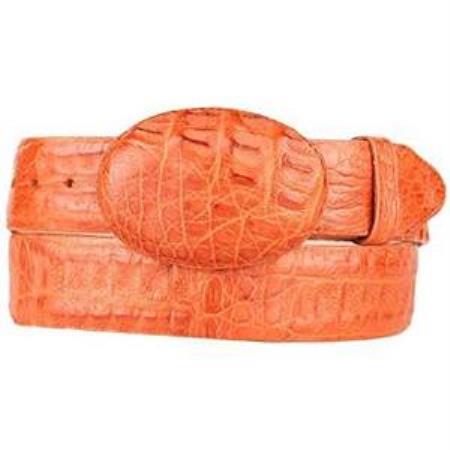 Mens cognac original caiman hornback skin western style belt