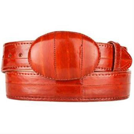 Mens cognac original eel skin western style hand crafted belt