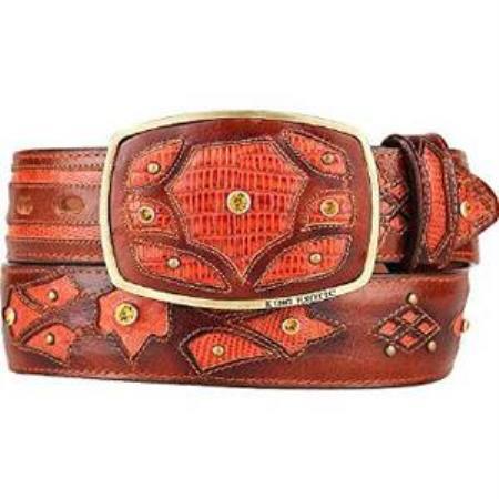 Mens cognac original lizard teju skin fashion western belt
