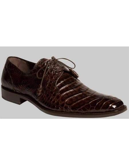 Mezlan Brand Mezlan Men's Dress Shoes Sale Men's Dark Brown Genuine Crocodile Shoes