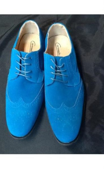 Mens dress wingtip suede velvet touch shoes turquoiseroyal blue