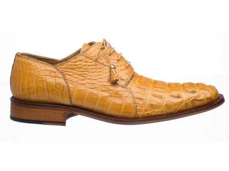 Mens Fashion Design Lace Up Camel Derby Hornback Alligator Shoes