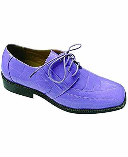 Mens fashion oxford crocodile embossed leather lilac dress shoes