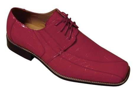 Mens Fashion Oxford Faux crocembossed Leather Dress Shoes Burgundy