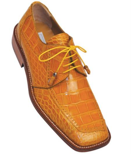 Mens Ferrini F206 Alligator Brogue Shoes Caramel