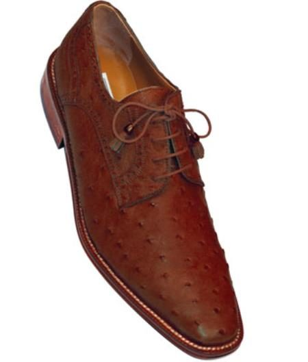 Mens Ferrini F214 Ostrich Quill Shoes Kango(Brown)