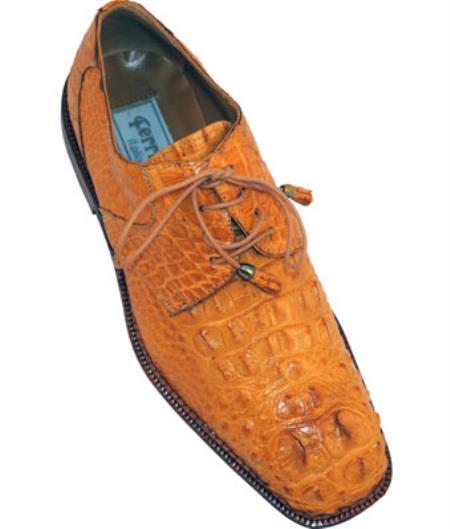 Mens Ferrini F228 Hornback Alligator Derby Shoes Camel