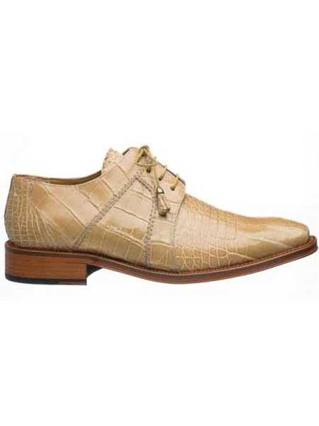 Mens Full Genuine Alligator Shoes Beige