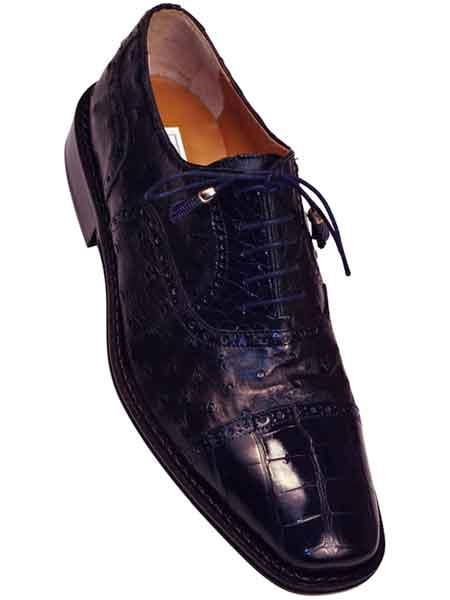 Mens Full Leather Sole Alligator Ostrich Cap Toe Shoes Navy