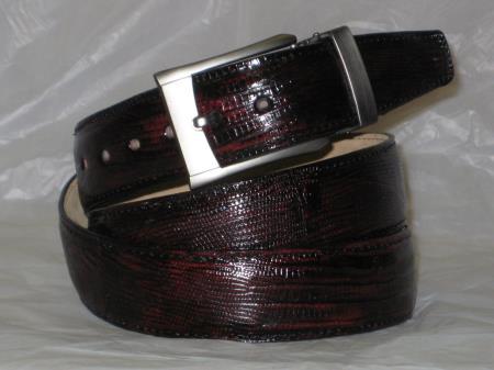 Mens genuine authentic black cherry lizard belt