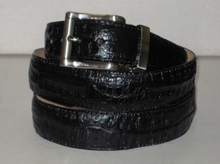 Mens genuine authentic black crocodile belt