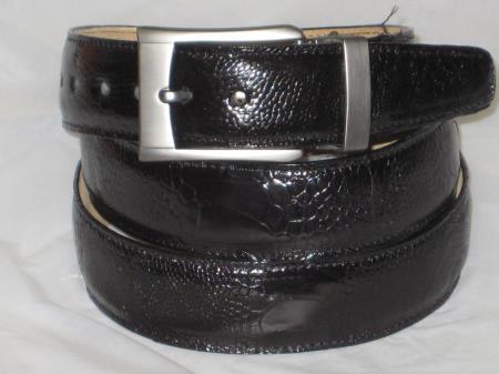 Mens genuine authentic black ostrich leg belt