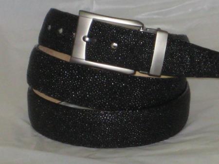 Mens genuine authentic black stingray belt