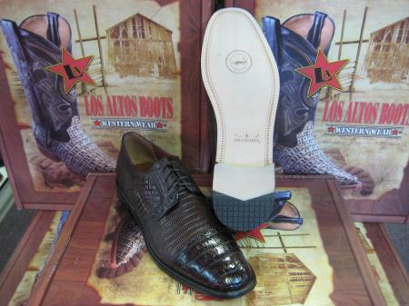 Mens Genuine Authentic Brown Caiman Belly & Teju Lizard Dress Shoe
