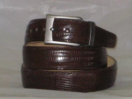 Mens genuine authentic brown lizard belt