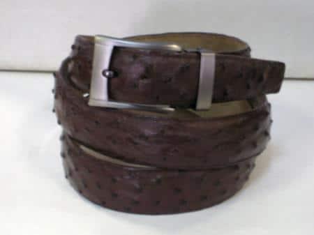 Mens genuine authentic brown ostrich belt