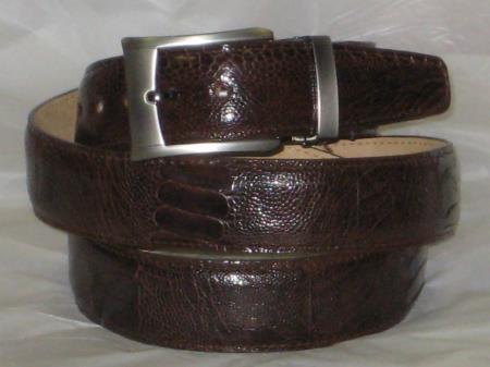 Mens genuine authentic brown ostrich leg belt