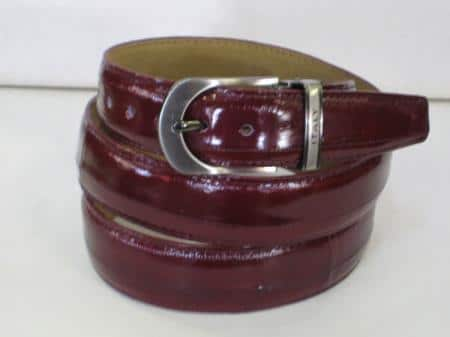 Mens genuine authentic burgundy eel belt