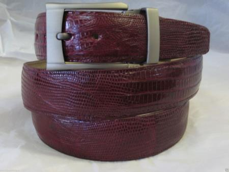 Mens genuine authentic burgundy lizard belt
