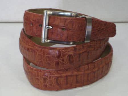 Mens genuine authentic cognac crocodile belt