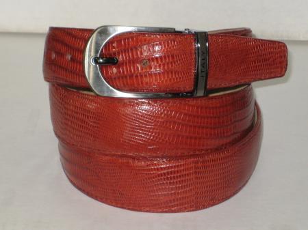 Mens genuine authentic cognac lizard belt