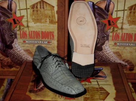 Mens Genuine Authentic Gray Caiman Crocodile Dress Shoe