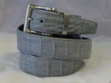 Mens genuine authentic gray crocodile belt