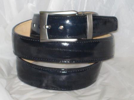 Mens genuine authentic navy blue eel belt