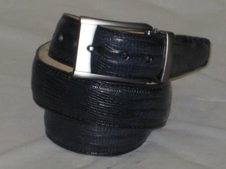Mens genuine authentic navy blue lizard belt