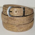 Mens genuine authentic oryx tan beige lizard belt