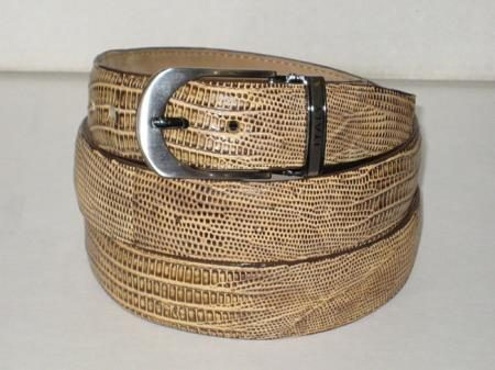Mens genuine authentic oryx tan lizard belt