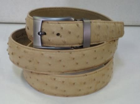 Mens genuine authentic oryx tan ostrich belt