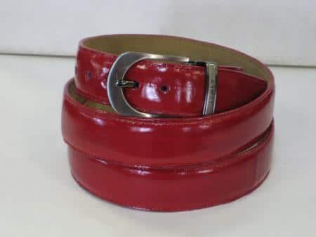 Mens genuine authentic red eel belt