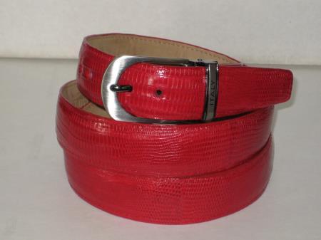 Mens genuine authentic red lizard belt