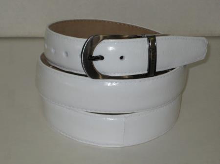 Mens genuine authentic white eel belt