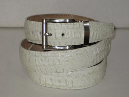 Mens genuine authentic winter white crocodile belt