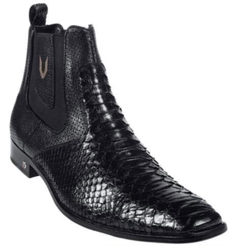 Mens Genuine Black Python Dressy Boot 317