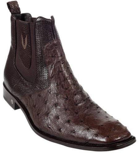 Mens Genuine Brown Full Quill Ostrich Dressy Boot 417