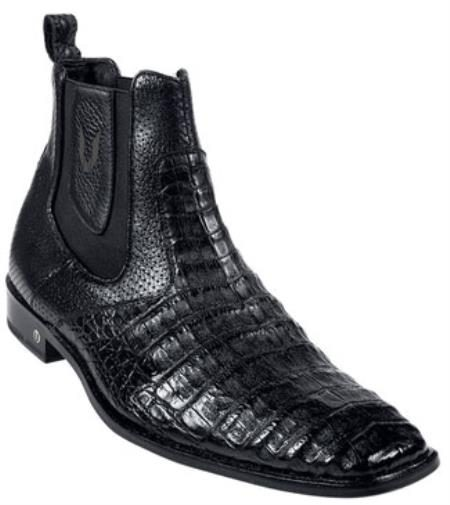 Mens Genuine Caiman Belly Black Dress Short Boot 417