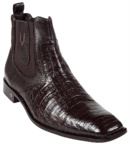 Mens Genuine Caiman Belly Brown Dress Boot 417