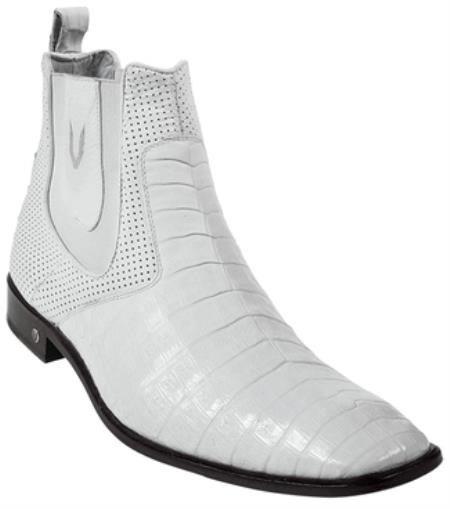 Mens Genuine Caiman Belly White Dress Boot 417