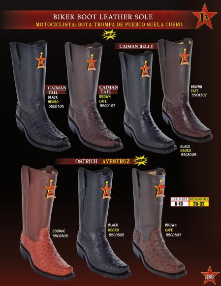 Mens Genuine Caiman/Ostrich Leather Sole Biker Cowboy Western Boots