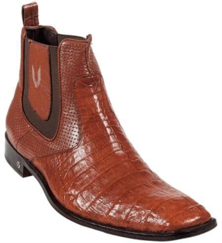 Mens Genuine Cognac Caiman Belly Dress Boot 417