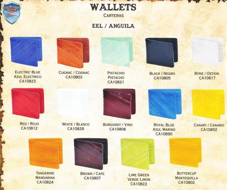 Mens Genuine Eel SingleFold Wallet s Different Colors Available